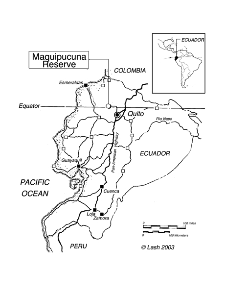 Ecuador Map with Maquipucuna Reserve shown